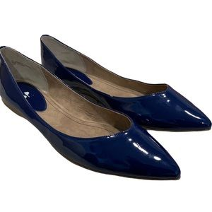 BP Sapphire Blue Faux Leather Point Toe Flats 10